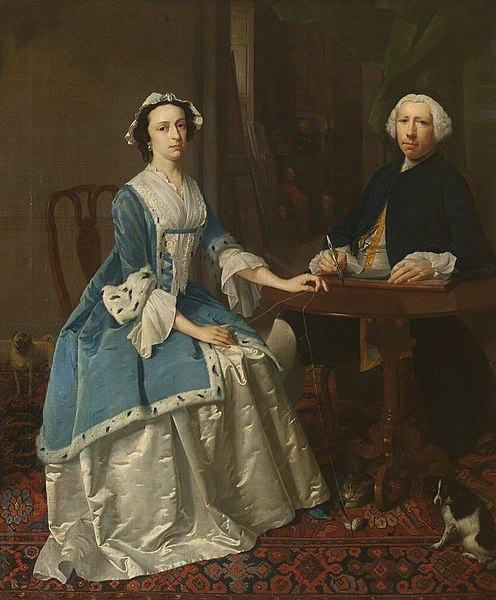 A Portrait Painter Drawing and His Wife Winding Wool
