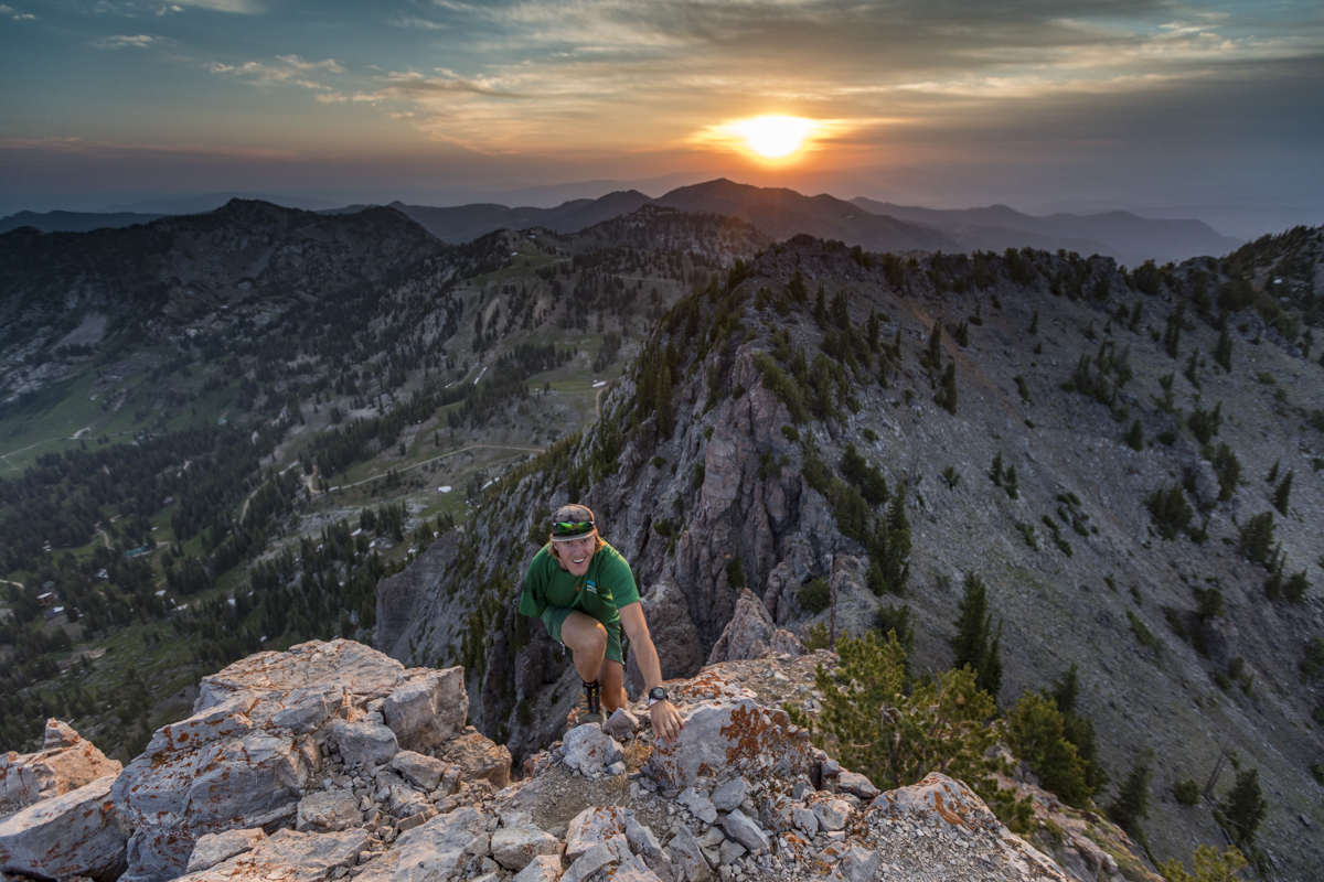 Person hiking at top of mountain