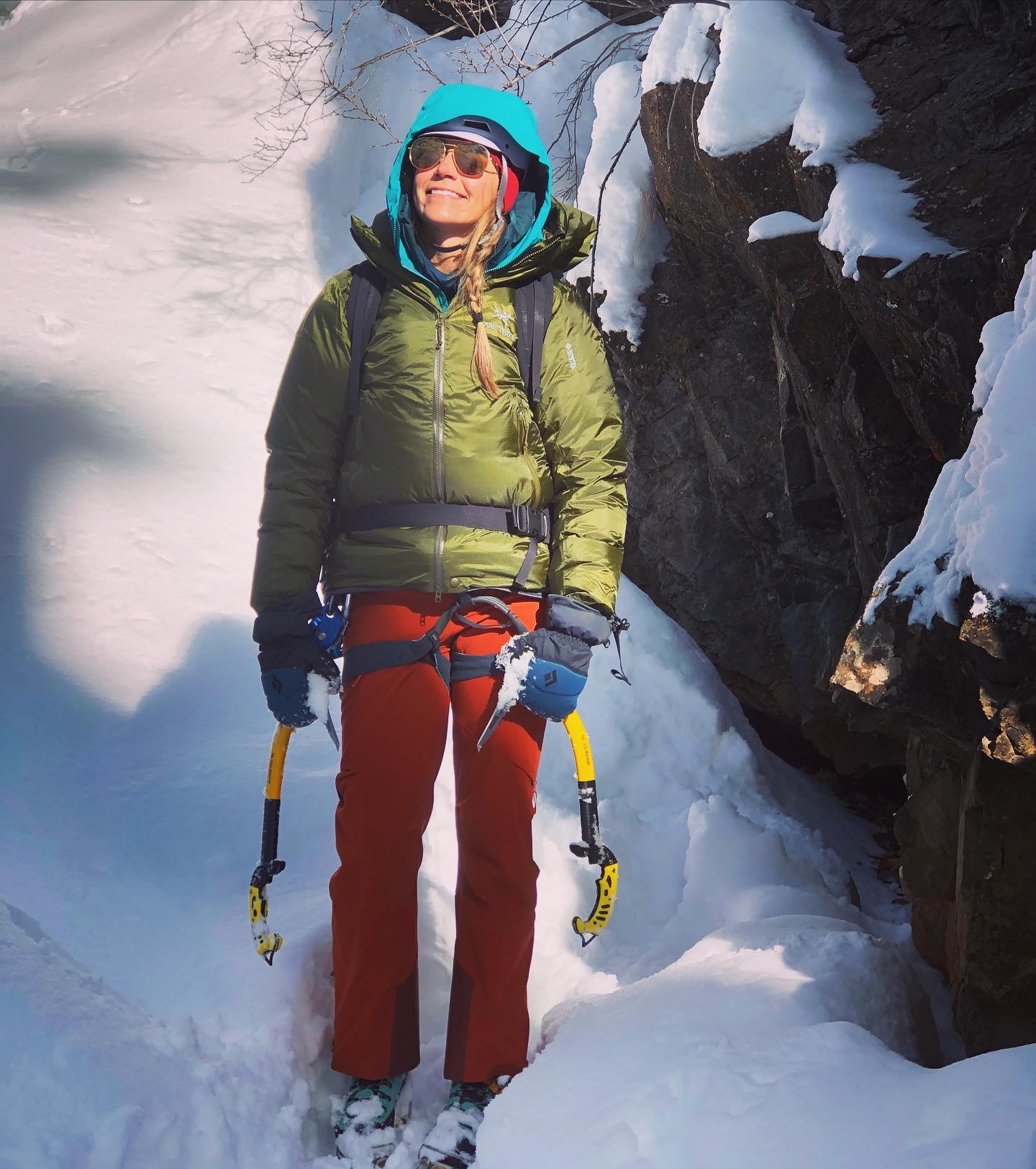 Author Beth Lopez in multiple apparel layers needed for ice climbing